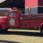El clásico camión de bomberos en la estación de San Juan